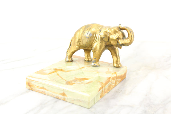 Green Marble and Metal Elephant Change Dish, Tip Tray, or Ring Box