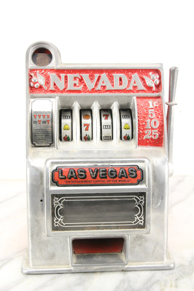 Las Vegas, Nevada One Armed Bandit Metal Slot Machine Casino Coin Bank Toy