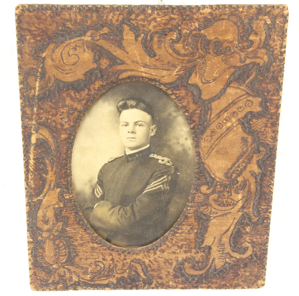 Flemish Art Pyrography Wood Frame with Photograph of Soldier - 7.5 x 9""