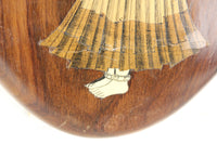 Inlaid Wooden Plaque of a Beautiful Woman Holding a Vessel on Her Head