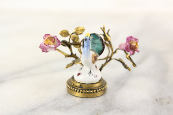 Porcelain and Brass Miniature Peacock Statue Token