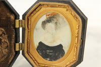 Antique Portait Painting on Bone in Bakelite Case, 1830