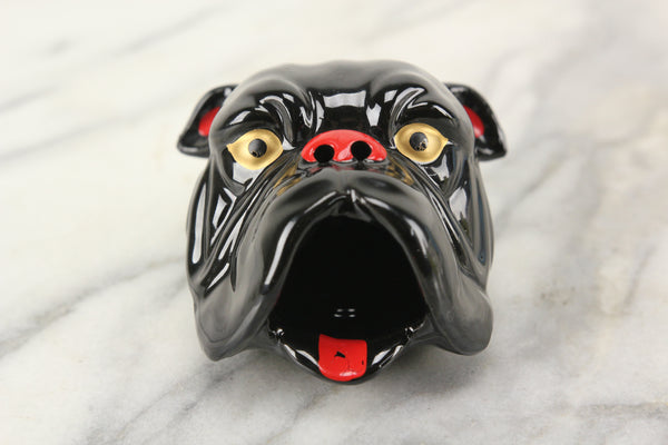 Black Bulldog Head Smoker Ashtray, Made in Japan