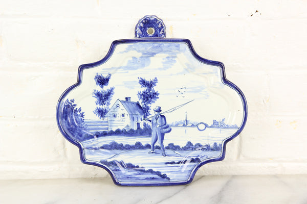 Decorative Delft Blue and White Porcelain Plaque Wall Hanger