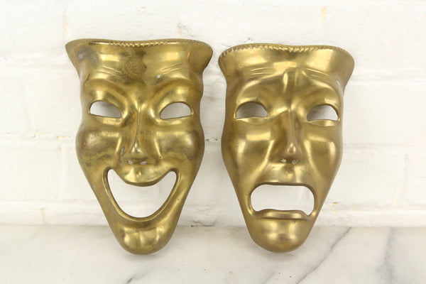 Brass Sock and Buskin Comedy and Tragedy Theater Mask Wall Hangers, India