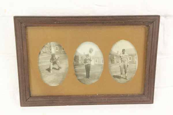 Triptych Framed Photographs of a Young Football Player and Band Member - 9 x 6""