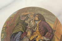 "Antique Prattware Covered Dish Dresser Box Titled ""Uncle Toby"""