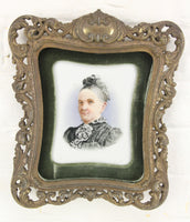 Porcelain Portrait Painting of Old Woman in Brevettato Italian Metal Frame - 8.5 x 9""