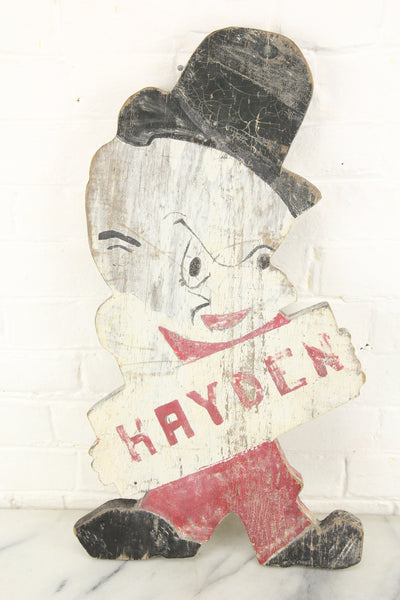 "Folk Art Elmer Fudd Hand Painted Hand Cut Lawn Ornament Sign ""Hayden"""