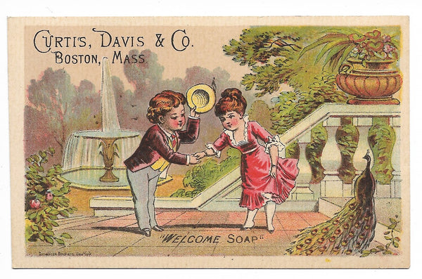 "Curtis. Davis & Co. ""Welcome Soap"" Antique Trade Card, Boston, Massachusetts (Peacock) - 4.25"" x 2.75"""