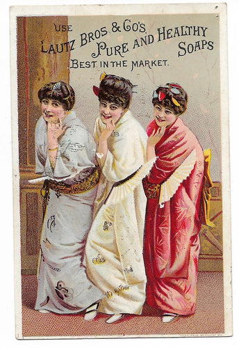 Lautz Bros & Co's Pure and Healthy Soaps (Women) Antique Trade Card, Warren, RI - 2.75