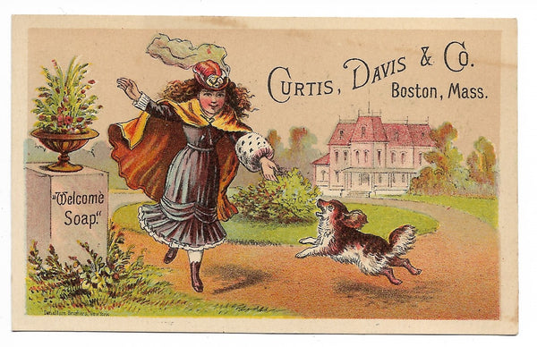 "Curtis. Davis & Co. ""Welcome Soap"" Antique Trade Card, Boston, Massachusetts (Dog) - 4.25"" x 2.75"""