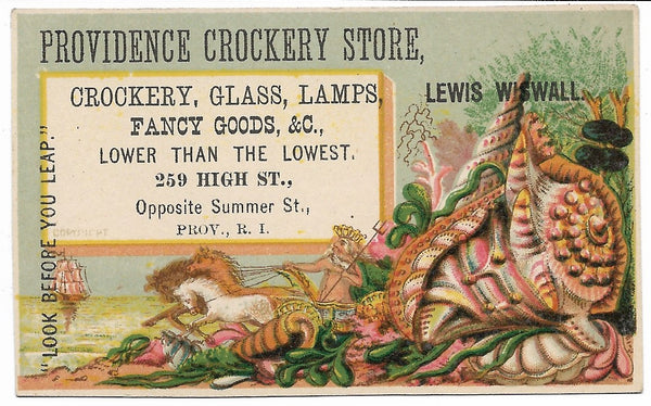 "Providence Crockery Store Antique Trade Card - 4"" x 2.5"""