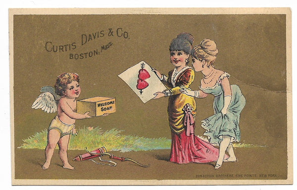 "Curtis. Davis & Co. ""Welcome Soap"" Antique Trade Card, Boston, Massachusetts (Cupid) - 4.25"" x 2.75"""