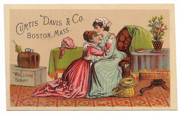 "Curtis. Davis & Co. ""Welcome Soap"" Antique Trade Card, Boston, Massachusetts (Ladies) - 4.25"" x 2.75"""