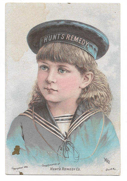 "Hunt's Remedy Kidney and Liver Medicine Antique Trade Card, 1883 - 3"" x 4.75"""
