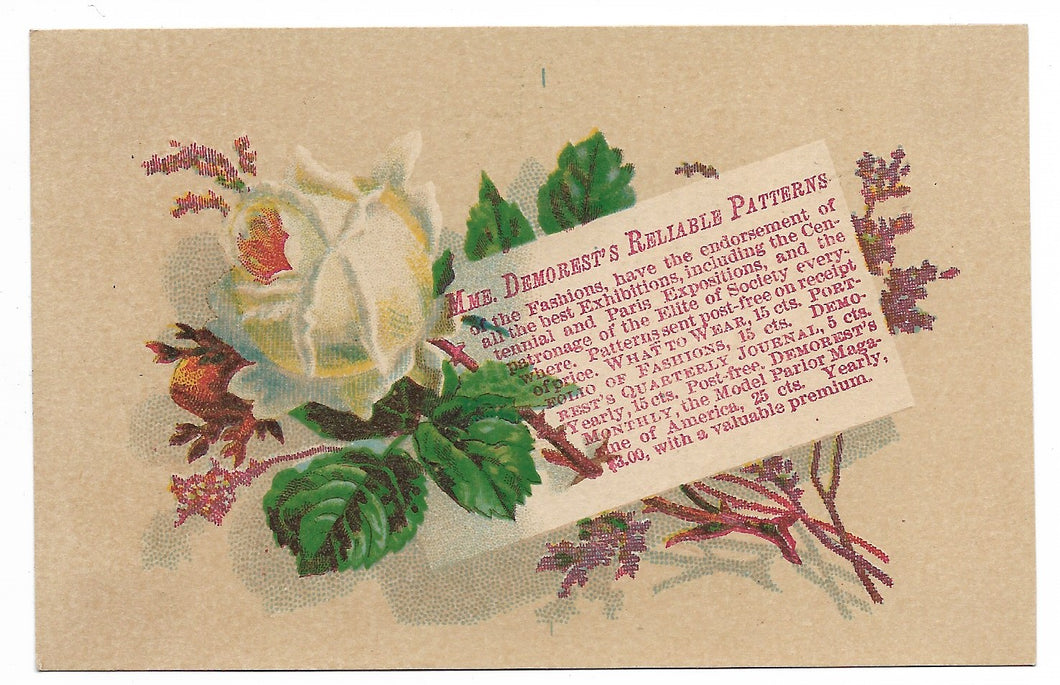 Mme. Demorest's Reliable Patterns Antique Trade Card - 4.625
