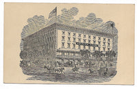 "Clarendon Hotel, Saratoga Springs & Delavan House, Albany Antique Trade Card - 4"" x 2.5"""