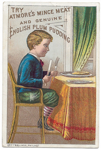 Atmore's Mince Meat and English Plum Pudding Antique Trade Card, Philadelphia, PA - 2.75