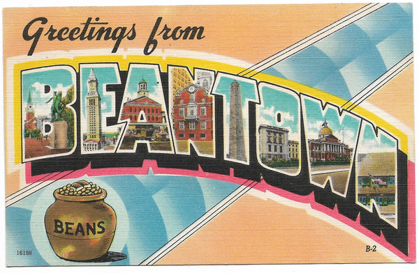 Greetings from Beantown - Boston, Massachusetts Vintage Postcard