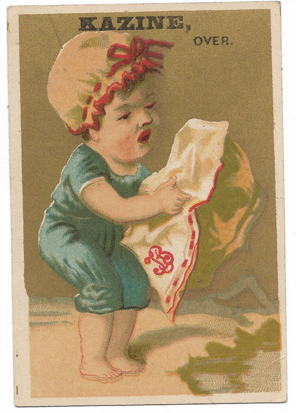 "Kazine Washing Powder (Baby Girl) Antique Trade Card - 3"" x 4.5"""