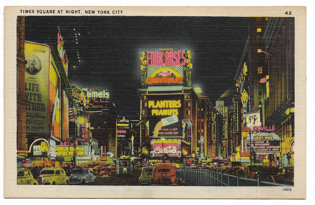 Times Square at Night, New York City Vintage Postcard