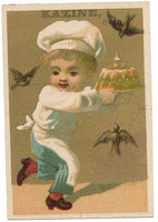 "Kazine Washing Powder (Baby Chef) Antique Trade Card - 3"" x 4.5"""