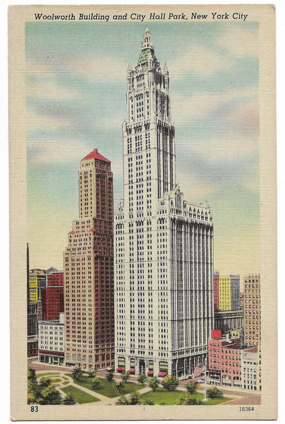 Woolworth Building and City Hall Park, New York City Vintage Postcard