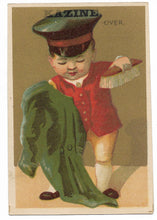 "Load image into Gallery viewer, Kazine Washing Powder (Baby Doorman) Antique Trade Card - 3"" x 4.5"""