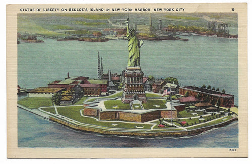 Statue of Liberty on Bedloe's Island, New York City Vintage Postcard