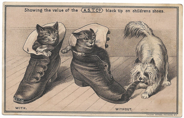 "A.S.T. Co. Black Tip Antique Trade Card, Pawtucket, RI - 5"" x 3"""
