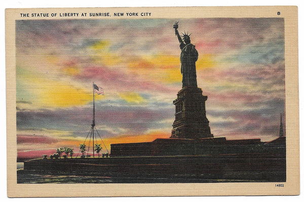 The Statue of Liberty at Sunrise, New York City Vintage Postcard