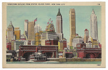 Load image into Gallery viewer, Downtown Skyline from Staten Island Ferry, New York City Vintage Postcard