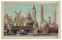 Downtown Skyline from Staten Island Ferry, New York City Vintage Postcard