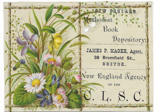 "New England Methodist Book Depository Antique Trade Card, Boston, MA - 4.5"" x 3.25"""