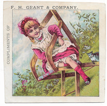 "Load image into Gallery viewer, F.H. Grant & Company Boots, Shoes & Rubbers Antique Trade Card, Pawtucket, RI - 3.5"" x 3.5"""
