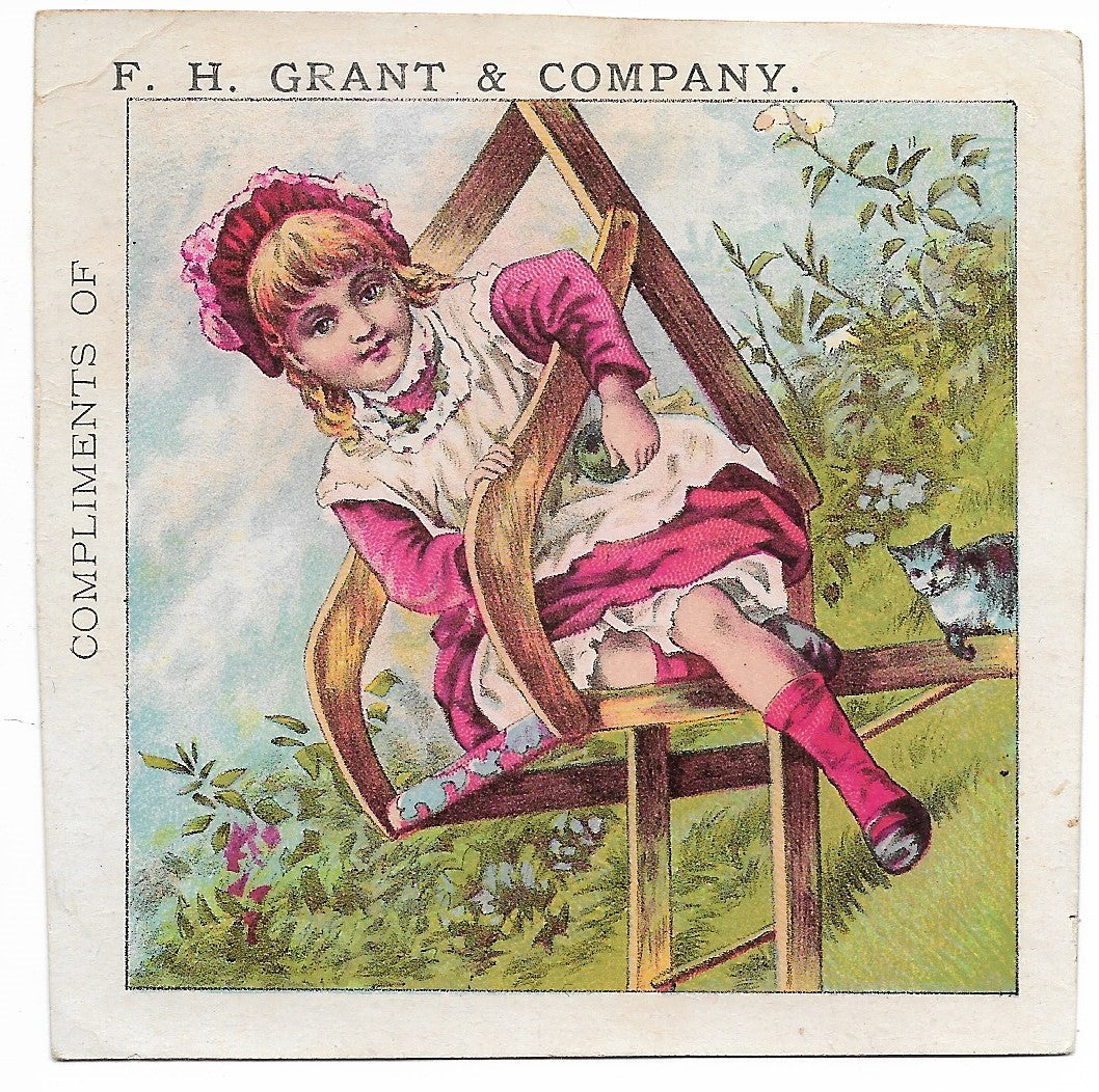 F.H. Grant & Company Boots, Shoes & Rubbers Antique Trade Card, Pawtucket, RI - 3.5