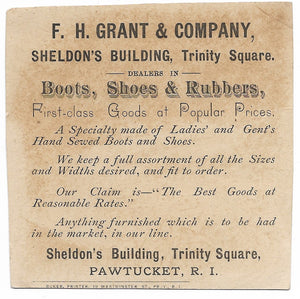 "F.H. Grant & Company Boots, Shoes & Rubbers Antique Trade Card, Pawtucket, RI - 3.5"" x 3.5"""