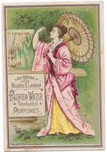"Load image into Gallery viewer, Murray & Lanman's Florida Water Antique Trade Card, New York, 1881 - 3"" x 4.75"""