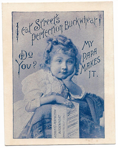 Street's Perfection Buckwheat Antique Trade Card, New Haven, CT - 3.25