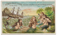 "Ayer's Hair Vigor Antique Trade Card, Lowell, MA - 4.25"" x 2.75"""