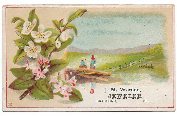 "J.M. Warden, Jeweler Antique Trade Card, Bradford, Vermont - 4.5"" x 2.75"""