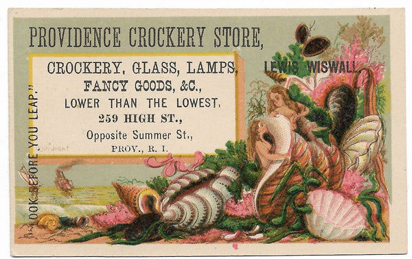"Providence Crockery Store (Ladies in Shells) Antique Trade Card - 4"" x 2.5"""