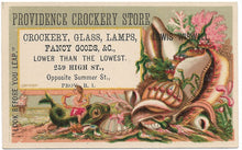 "Load image into Gallery viewer, Providence Crockery Store (Lady on Dragon) Antique Trade Card - 4"" x 2.5"""