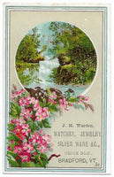 "J.M. Warden, Watches, Jewlery, Silver Ware Antique Trade Card, Bradford, Vermont - 2.75"" x 4.25"""
