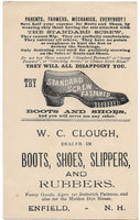 "W.C. Clough Boots, Shoes, Slippers, & Rubbers Antique Trade Card, Enfield, NH - 3.25"" x 5.5"""