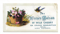 "Use Wistar's Balsam for Coughs, Consumption, and all Lung Diseases Antique Trade Card - 3.5"" x 2"""