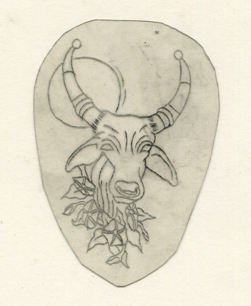 Bull Head Vintage Traditional Tattoo Acetate Stencil from Bert Grimm's Shop