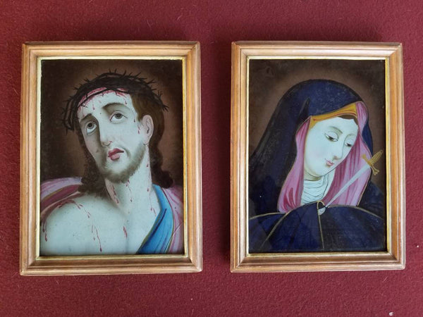 Pair of Reverse Religious Paintings with Jesus and Mary