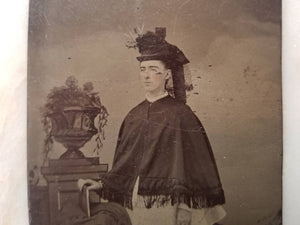 Tintype Photograph of a Victorian Woman Standing